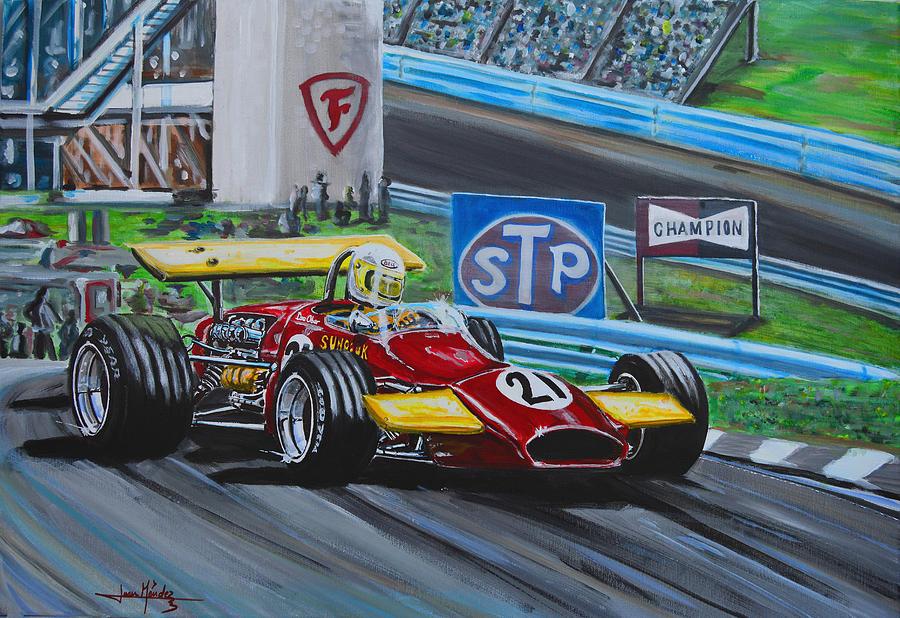 Ferrari Painting - Dave Flying On The Glen by Juan Mendez