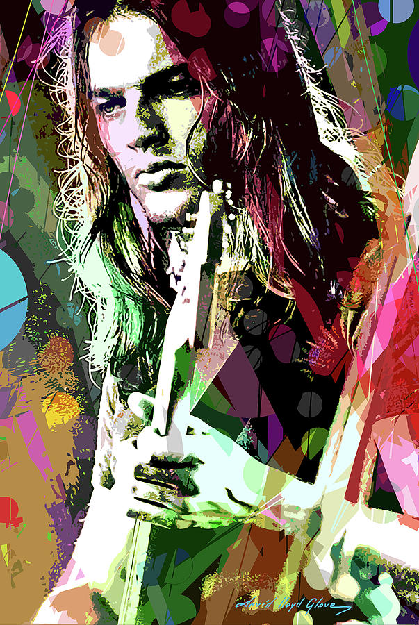 David Gilmour Painting - Dave Gilmour Dark Side by David Lloyd Glover