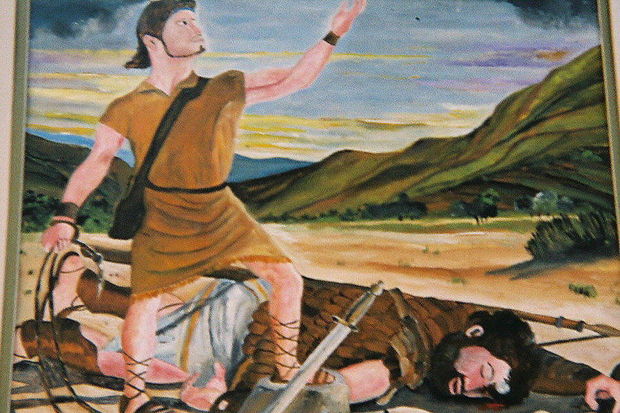 Biblical Painting - David And Goliath by Desenclos Patrick