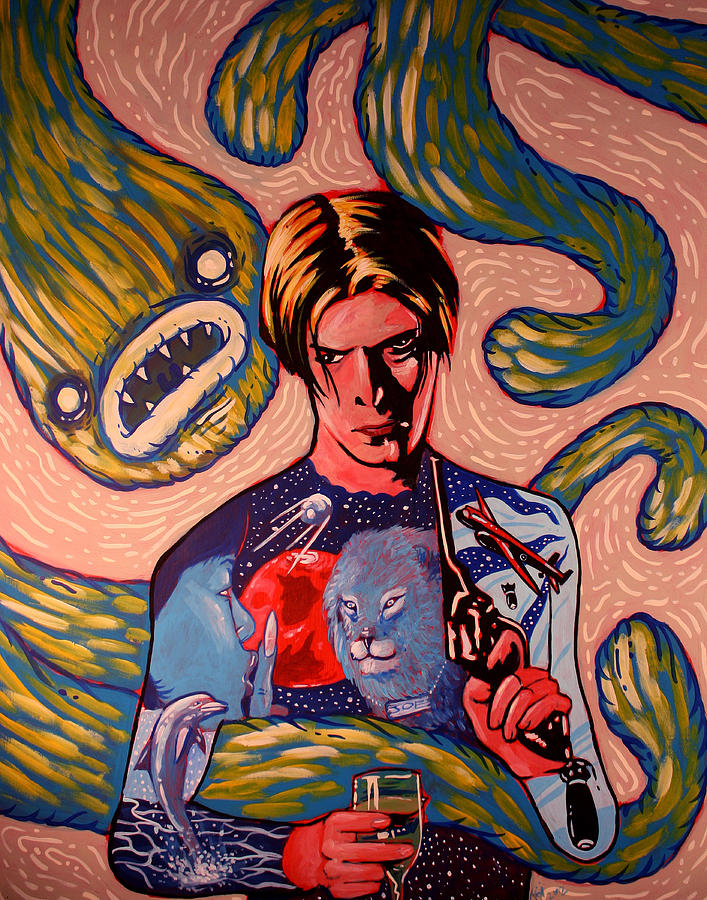 David Bowie Painting - David Bowie Song Reference Painting by Jason  Wright