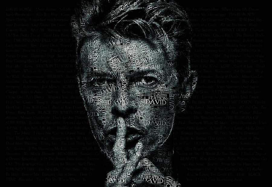 Bowie digital art david bowie text portrait typographic poster with album titles and background