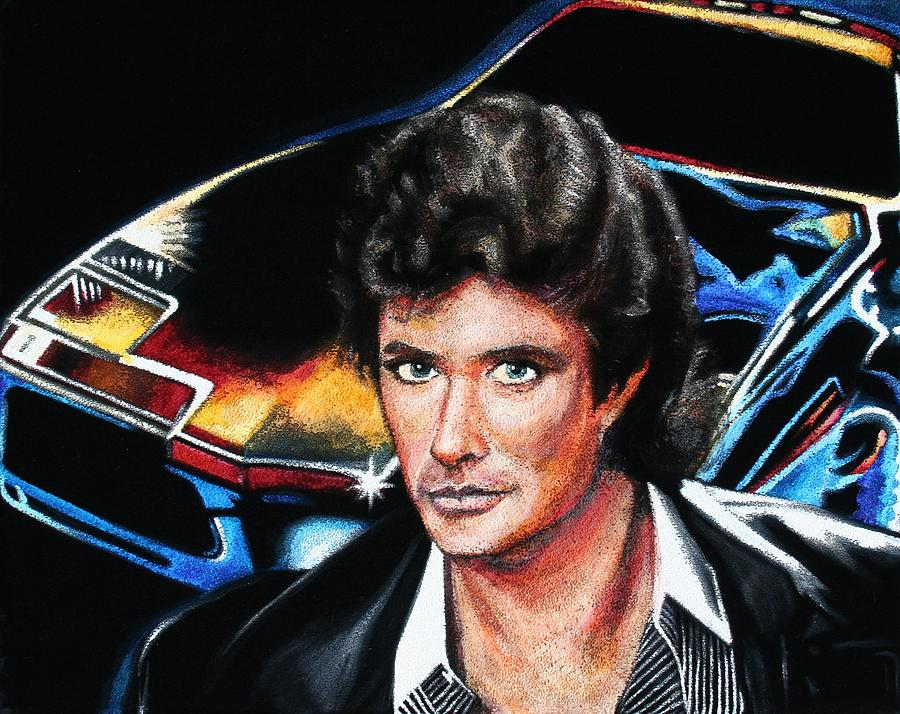 Velvet Painting - David Hasselhoff by Kate Fortin