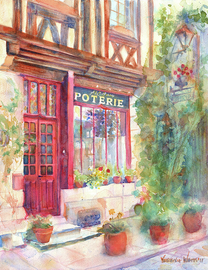 European Painting - Davids Europe 2 - A And C Squire Poterie European Street Scene Watercolor by Yevgenia Watts