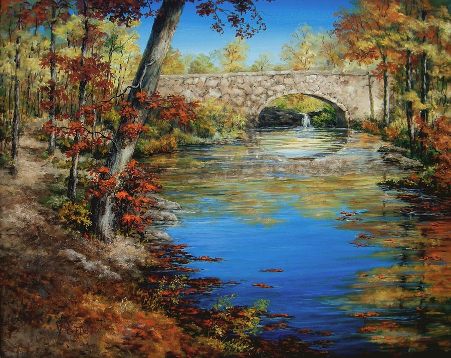 Landscape Painting - Davies Bridge In November by Virginia Potter