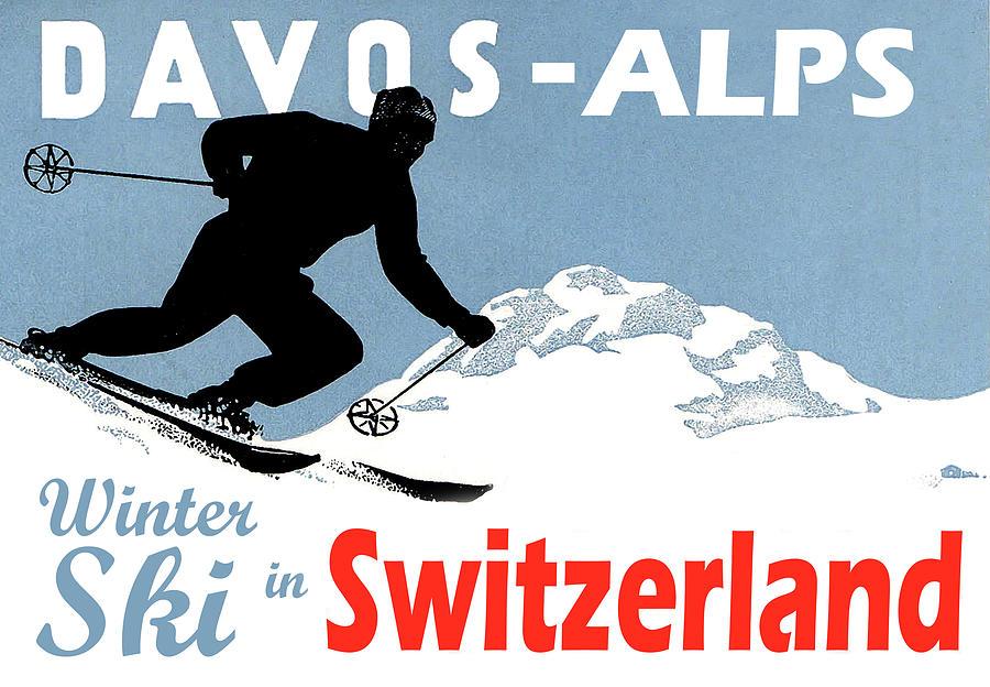 Davos Painting - Davos, Alps, Mountains, Switzerland, Winter, Ski, Sport by Long Shot