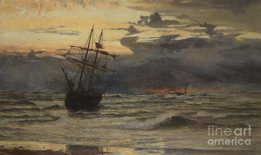 Seascape Painting - Dawn After The Storm by William Lionel Wyllie