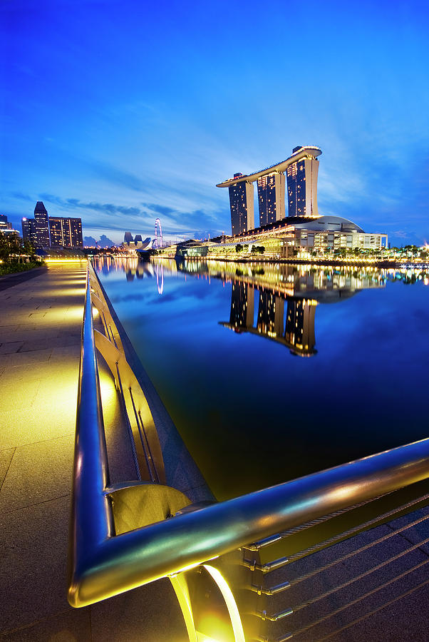 Marina Photograph - Dawn At Marina Bay Promenade Singapore by Ng Hock How