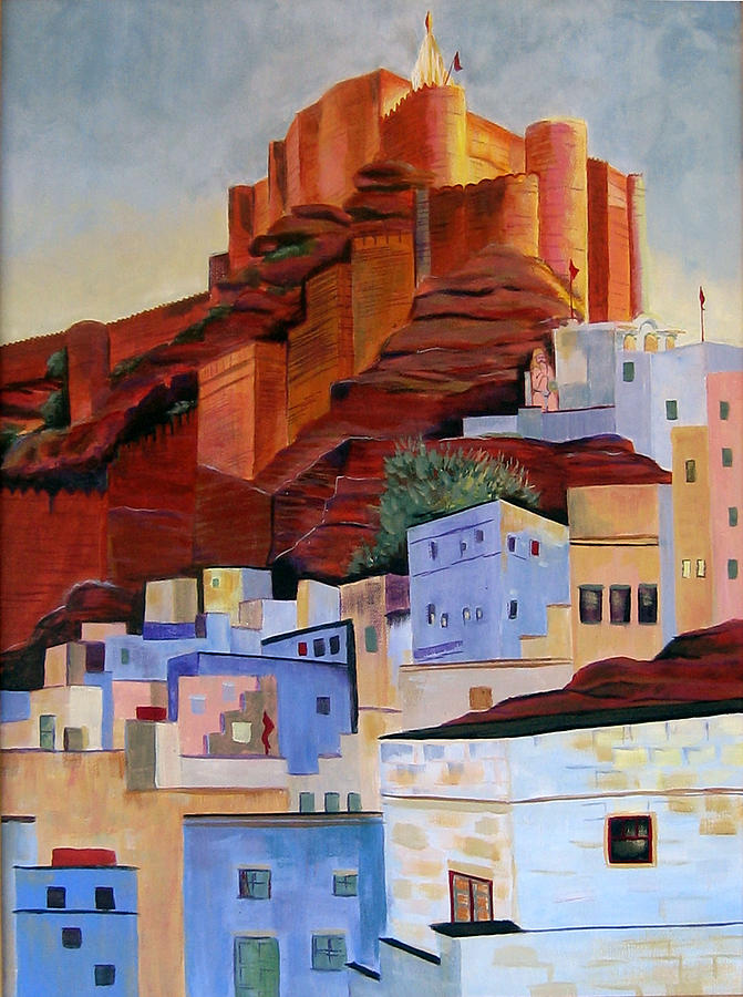Landscape Painting - Dawn At The Fort In Jodhpur  by Art Nomad Sandra  Hansen