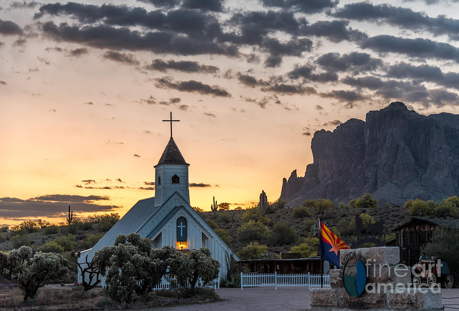 Sunrise Photograph - Dawn at the Superstitions by Leo Bounds