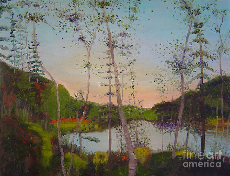Landscape Painting - Dawn By The Pond by Lilibeth Andre