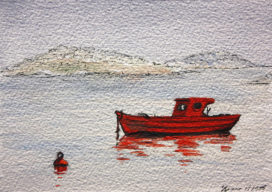 Boat Painting - Dawn Fishing by Yvonne Ayoub