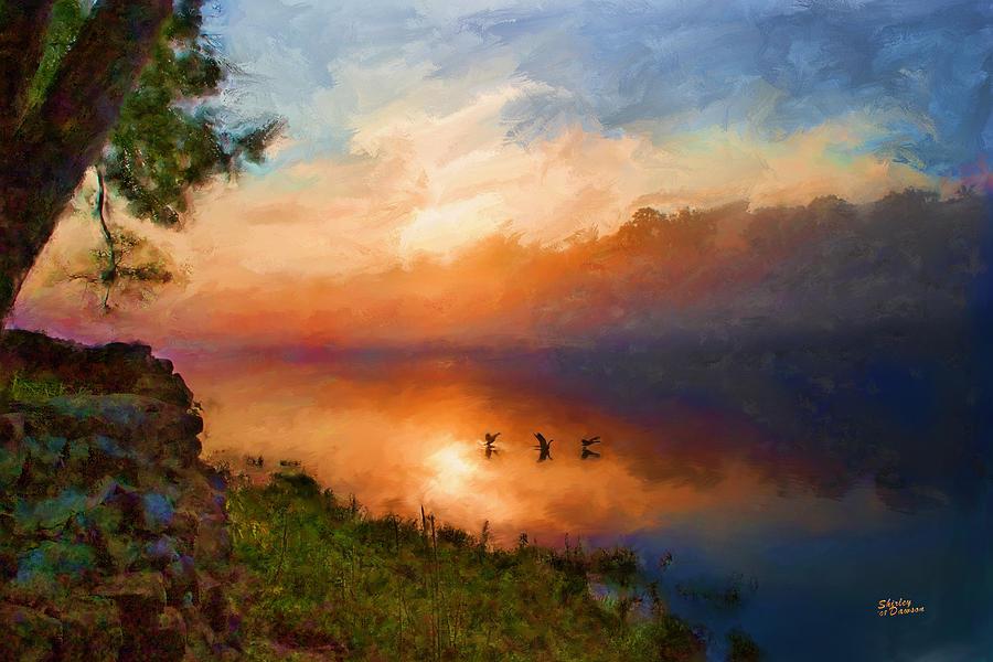 Landscape Painting - Dawn Flight by Shirley Dawson