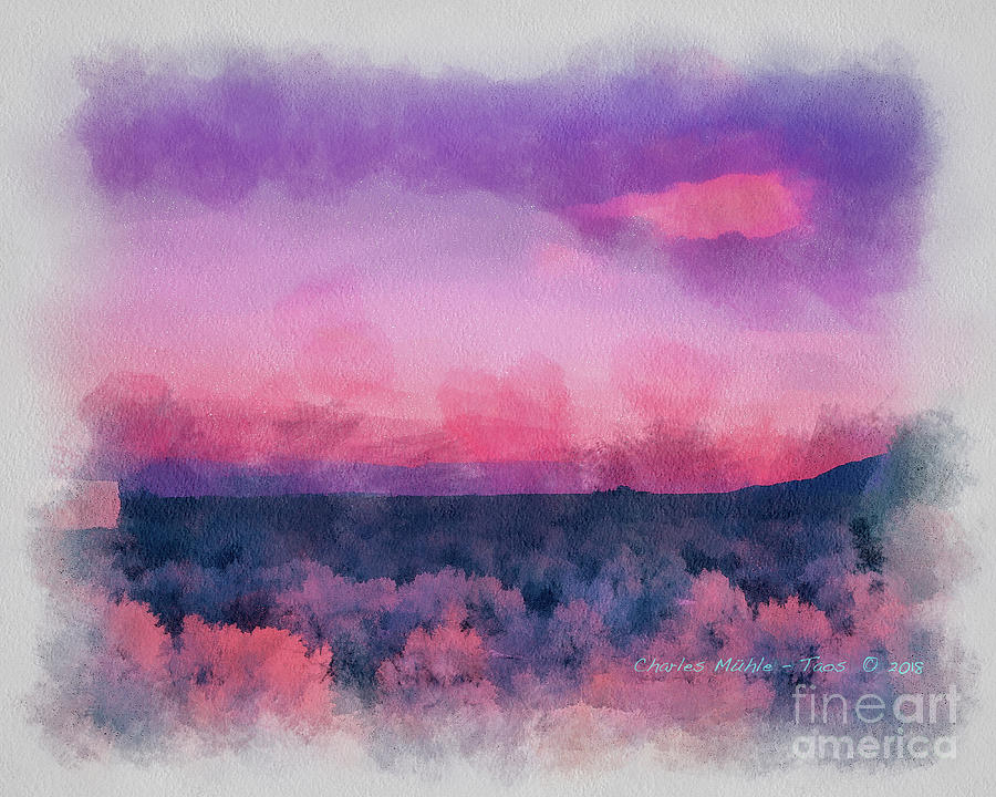 Dawn in Taos in Aquarelle by Charles Muhle