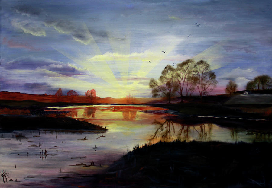 Sunrise Painting - Dawn by Jane Autry