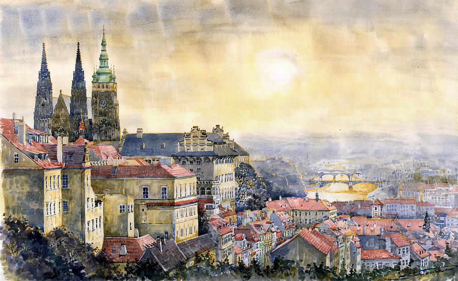 Watercolor Painting - Dawn of Prague by Yuriy Shevchuk