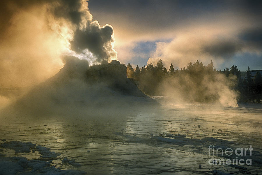 Yellowstone Photograph - Dawn On Castle Geyser by Sandra Bronstein
