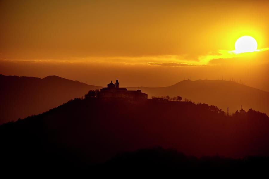 Genova Photograph - Dawn On Guardia Genova Sanctuary From Alta Via Dei Monti Liguri by Enrico Pelos