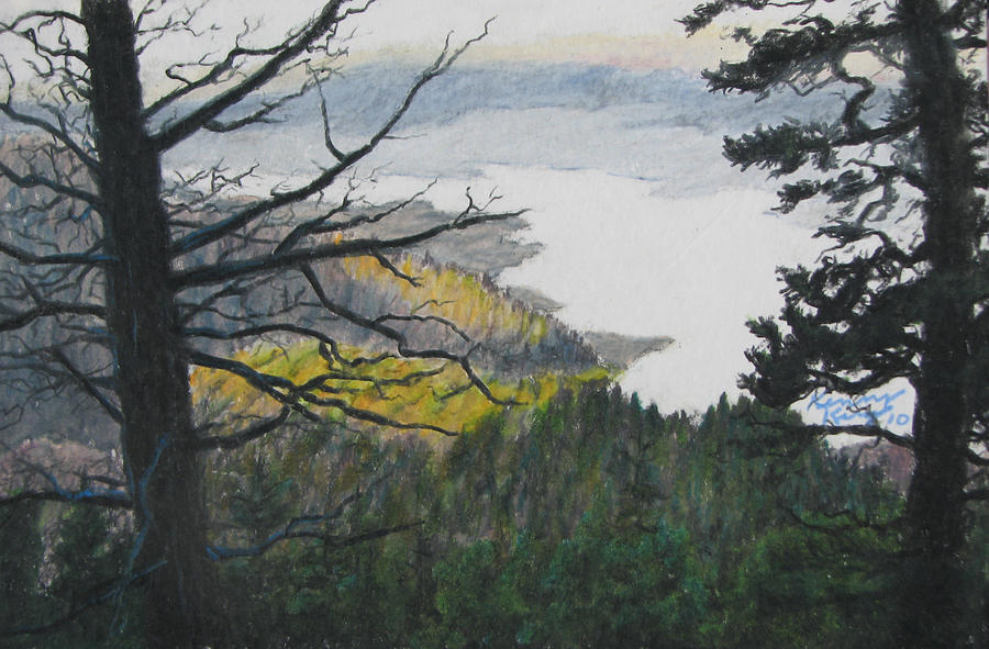 Landscape Drawing - Dawn Over Eagle Nest Lake by Kenny King