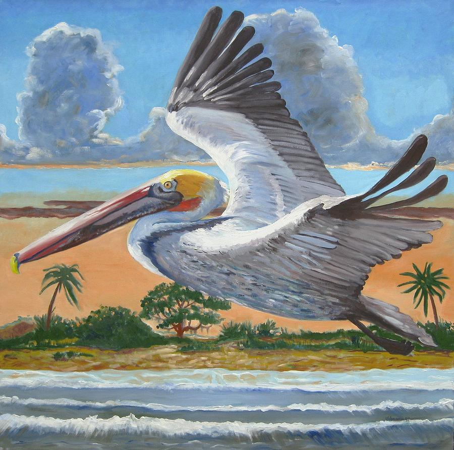 Flying Pelican Painting - Dawn Patrol by D T LaVercombe