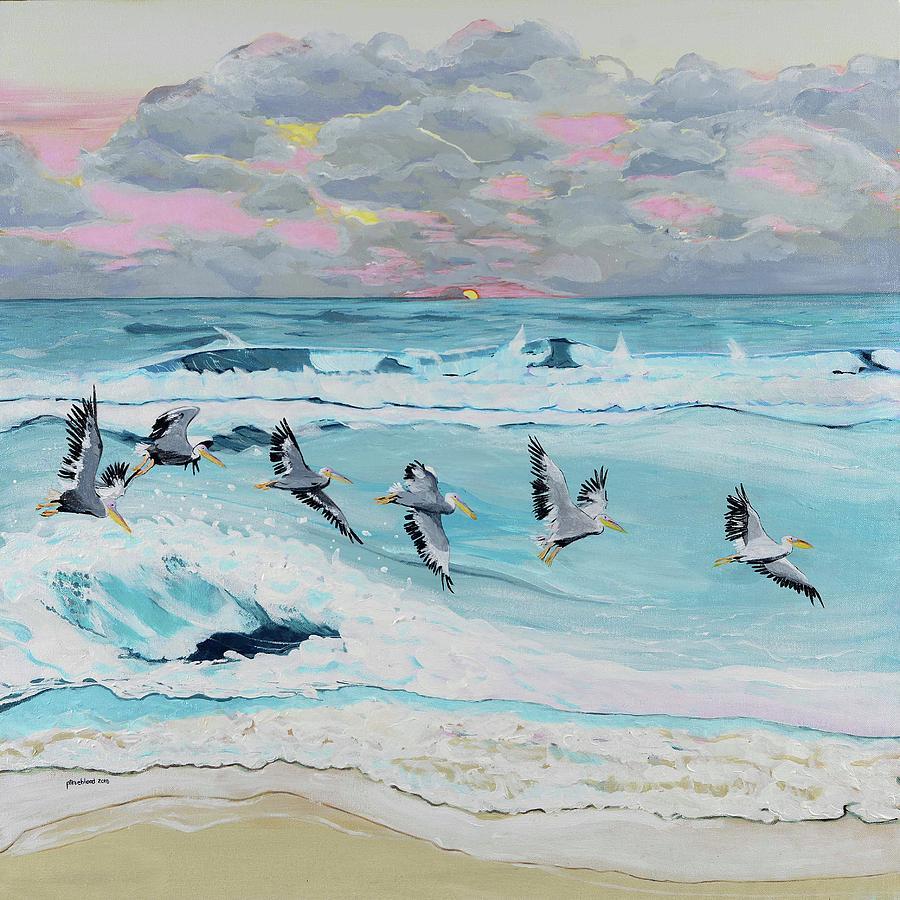 Dawn Painting - Dawn Pelicans by Pamela Trueblood