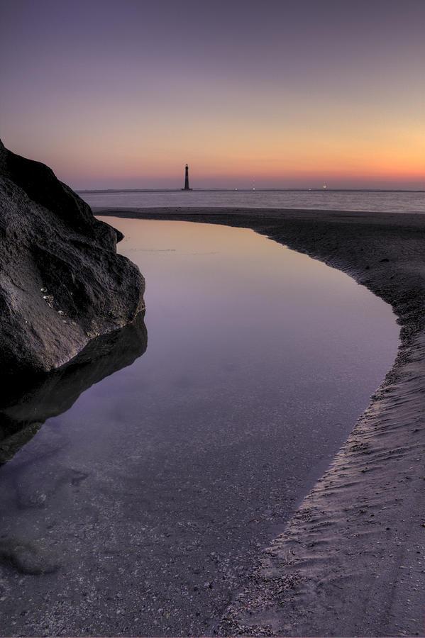 Morris Island Light House Morning Folly Beach Lowcountry South Carolina Landscape Water Beach Hdr Photograph - Dawn Reflections by Dustin K Ryan
