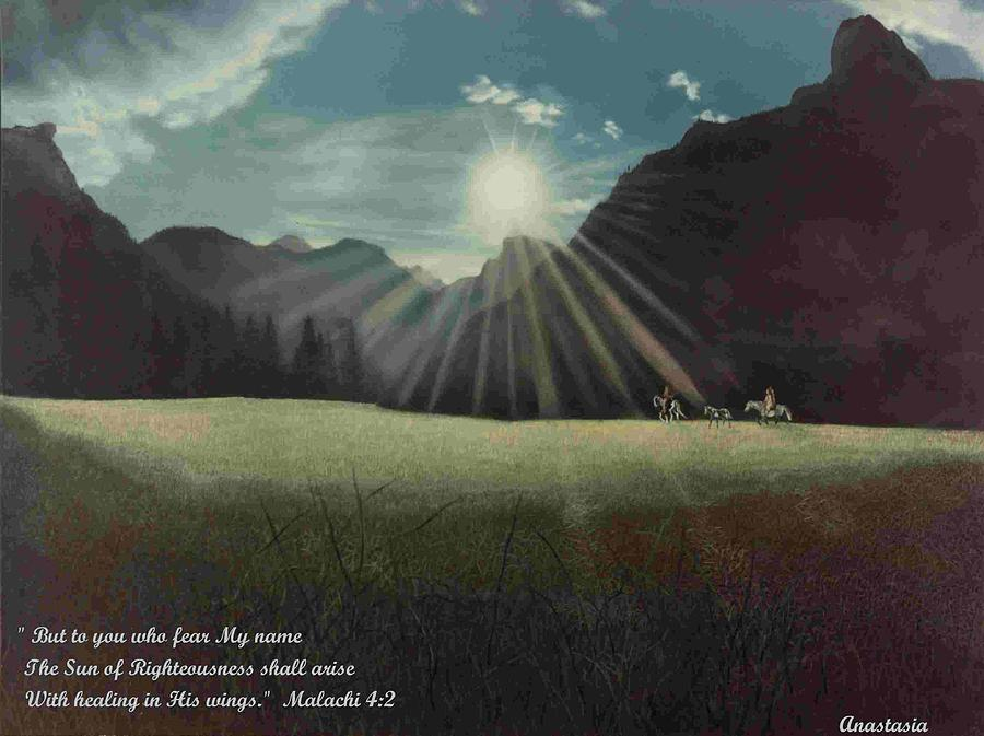 American Painting - Dawn Riders With Verse by Anastasia Savage Ealy
