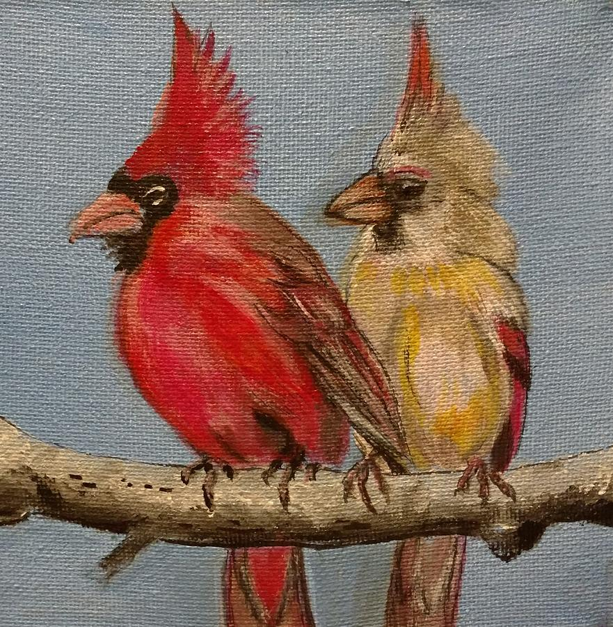Dawns Cardinals Painting by Kevin F Bell