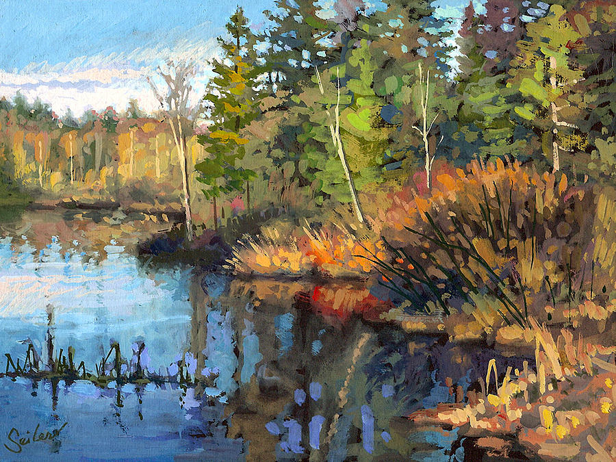 Landscape Painting - Dawson Lake- Shoreline by Larry Seiler