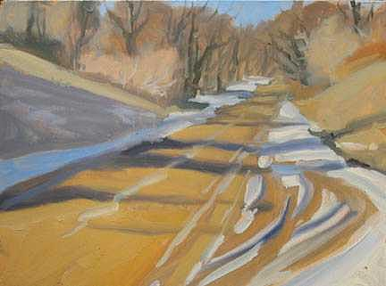Michigan Painting - Dawson Road In Winter -- Plein Air Field Study by Margie Guyot
