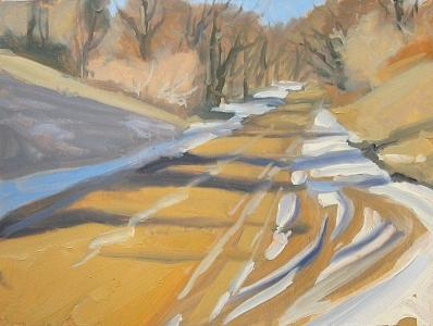 Dawson Road In Winter Painting by Margie Guyot