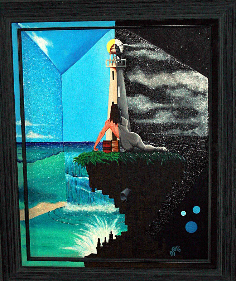 Lighthouse Painting - Day And Night At The Lighthouse by Carlos Osorio