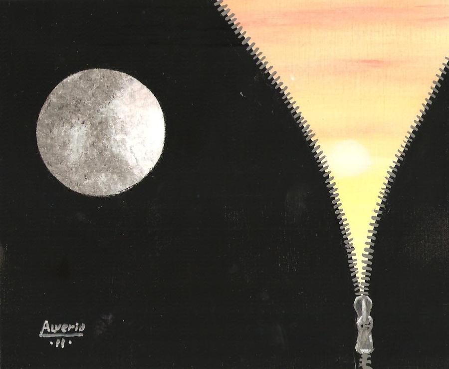 Moon Painting - Day And Night by Edwin Alverio