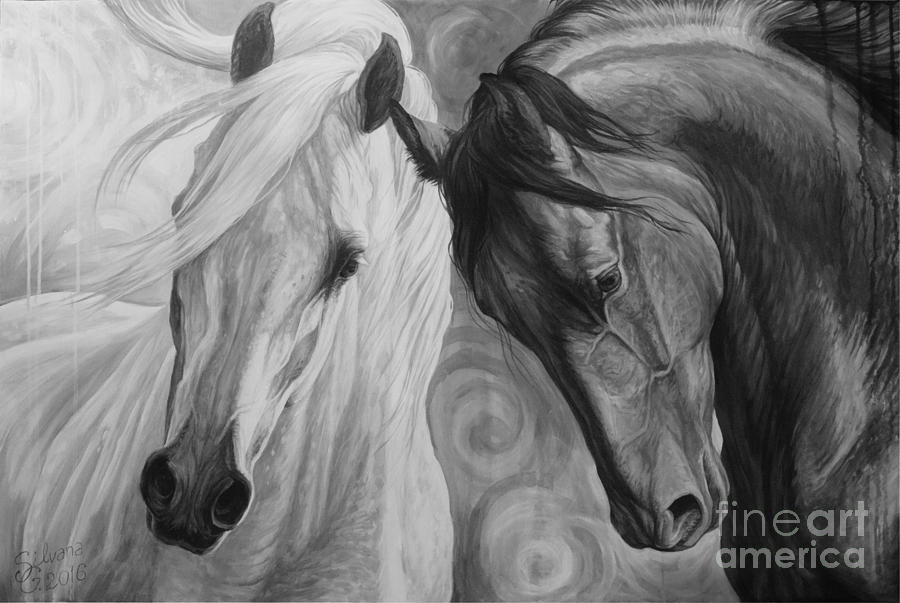 Horse Painting - Day And Night by Silvana Gabudean Dobre