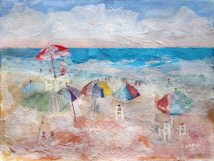 Beach Mixed Media - Day At The Beach by Arline Wagner