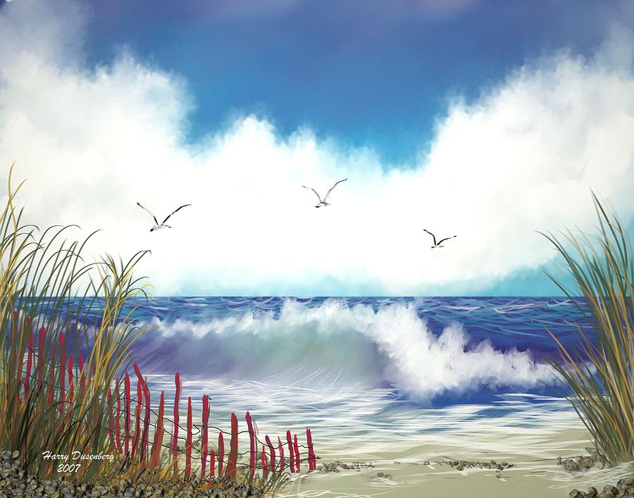 Sea Painting - Day At The Beach by Harry Dusenberg