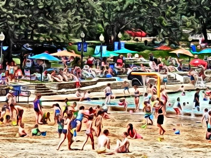 Day at the Beach Impressionist by Deborah Kunesh