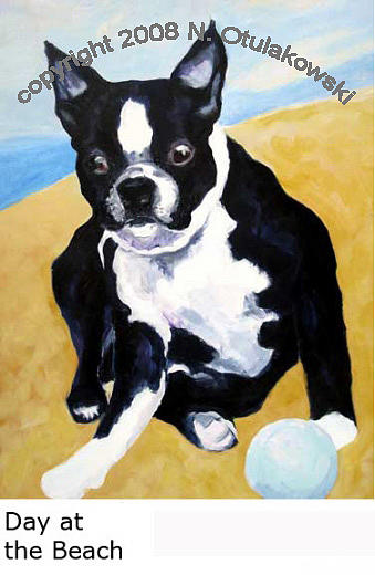 Boston Terrier Painting - Day At The Beach by Nina Otulakowski