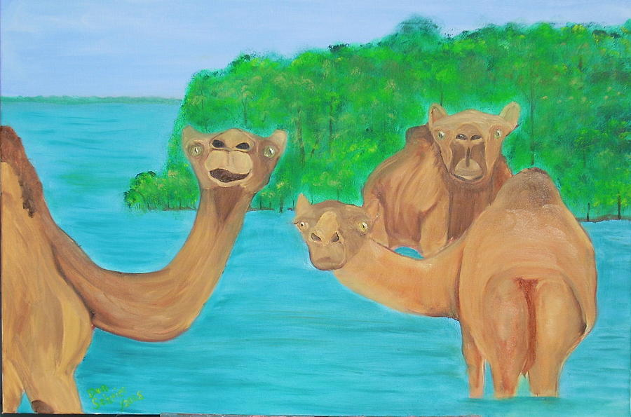 Camels Painting - Day At The Beach With The Guys by Donald Schrier