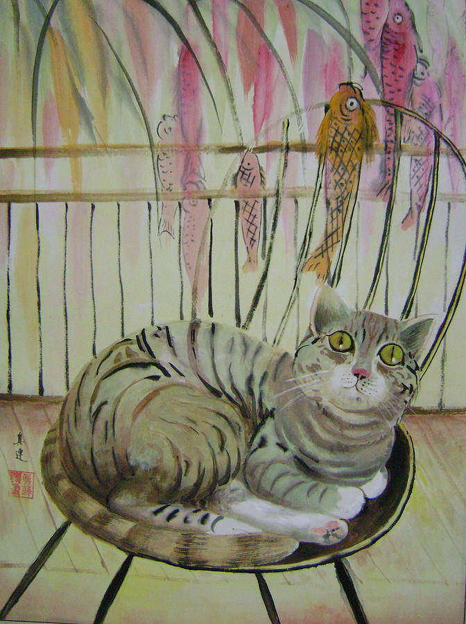 Cats Painting - Day Dreaming by Lian Zhen