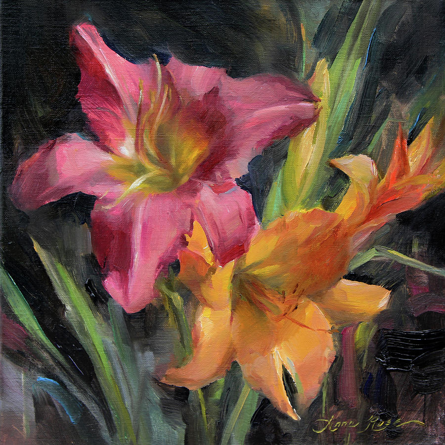 Lilies Painting - Day Lilies by Anna Bain