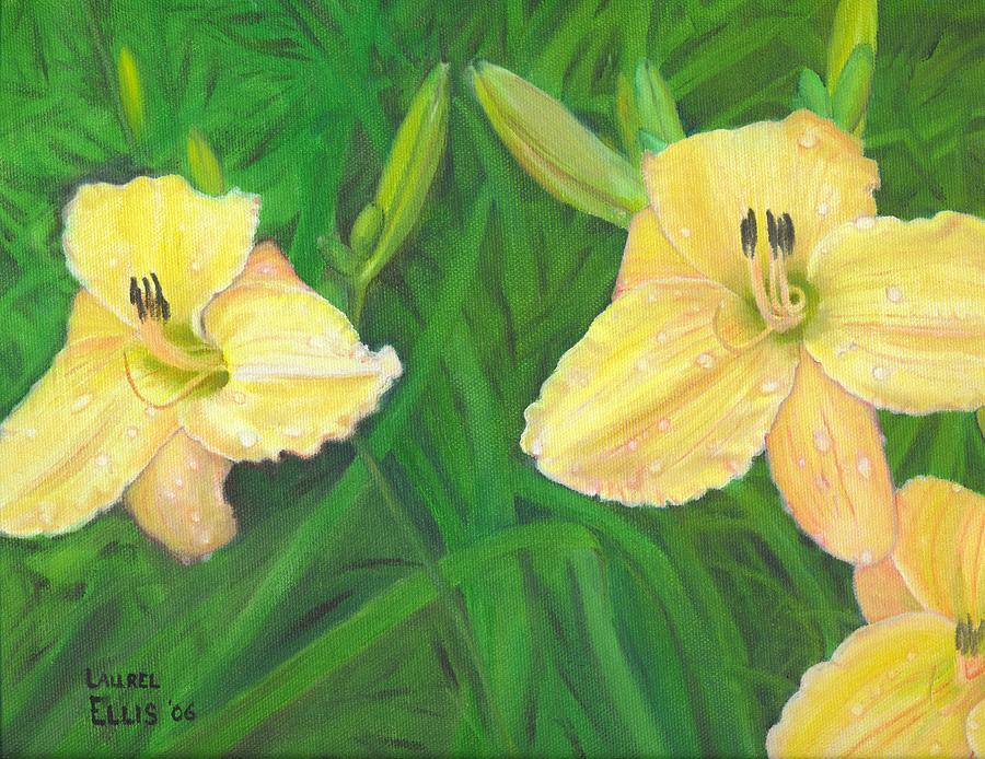 Flowers Painting - Day lilies by Laurel Ellis