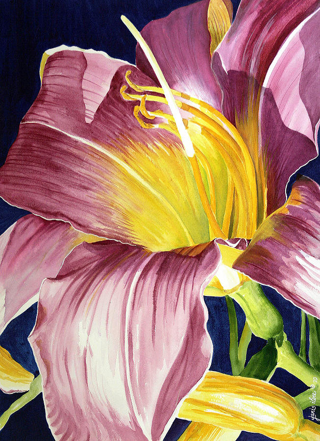 Day Lily Painting - Day Lily In Sunlight by Janis Grau