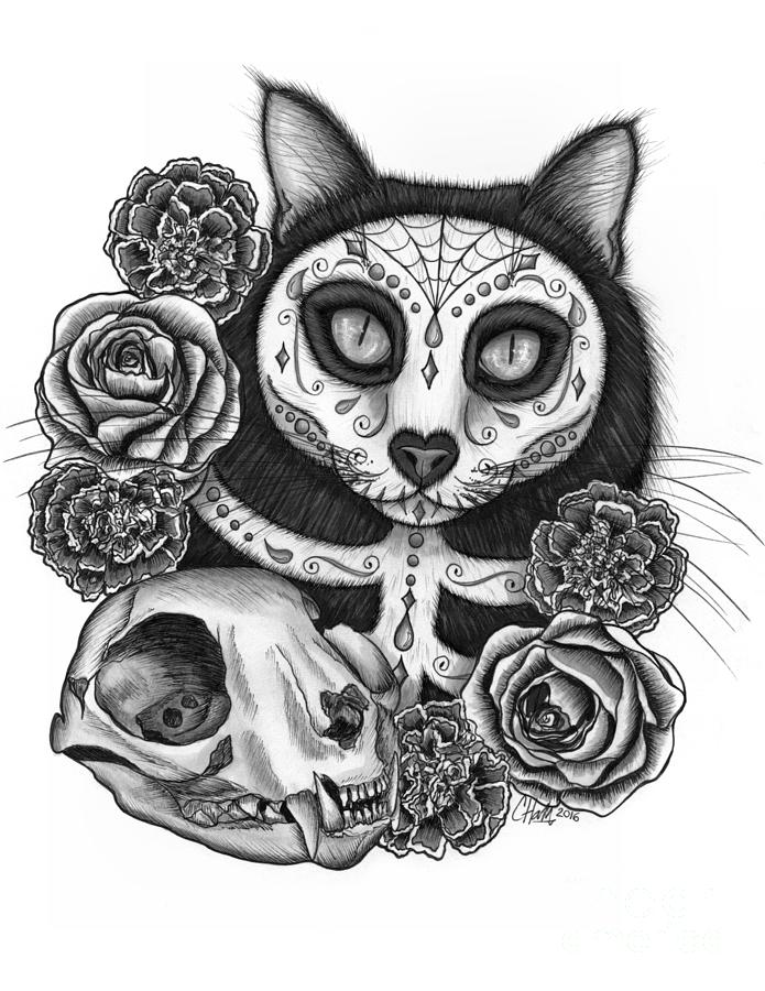 Day of the Dead Cat Skull - Sugar Skull Cat by Carrie Hawks