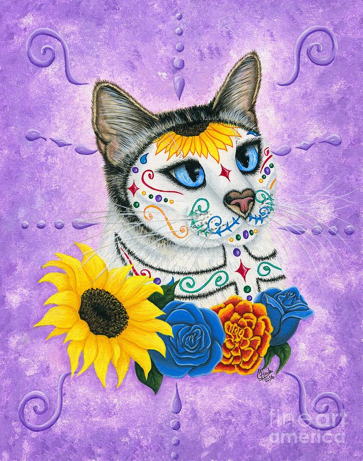 Day of the Dead Cat Sunflowers - Sugar Skull Cat by Carrie Hawks