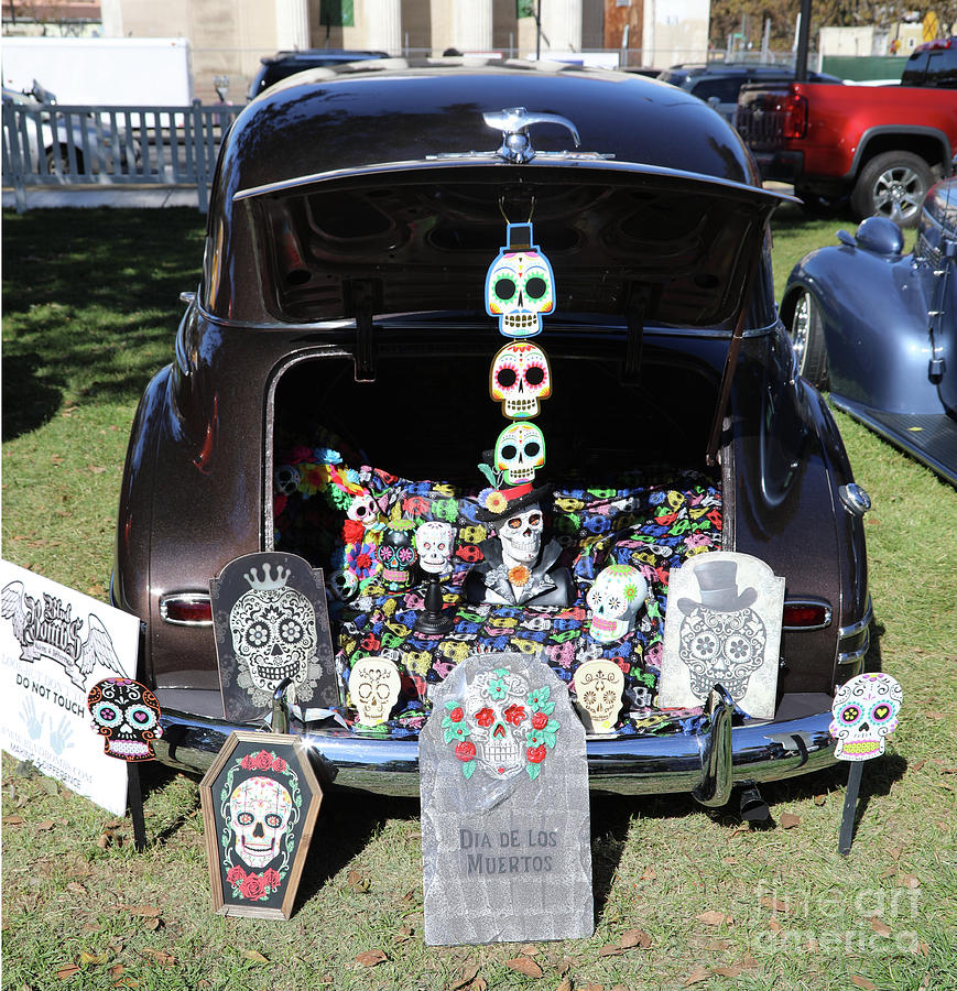 Dia De Los Muertos Photograph - Day Of The Dead Classic Car Trunk Display  by Chuck Kuhn