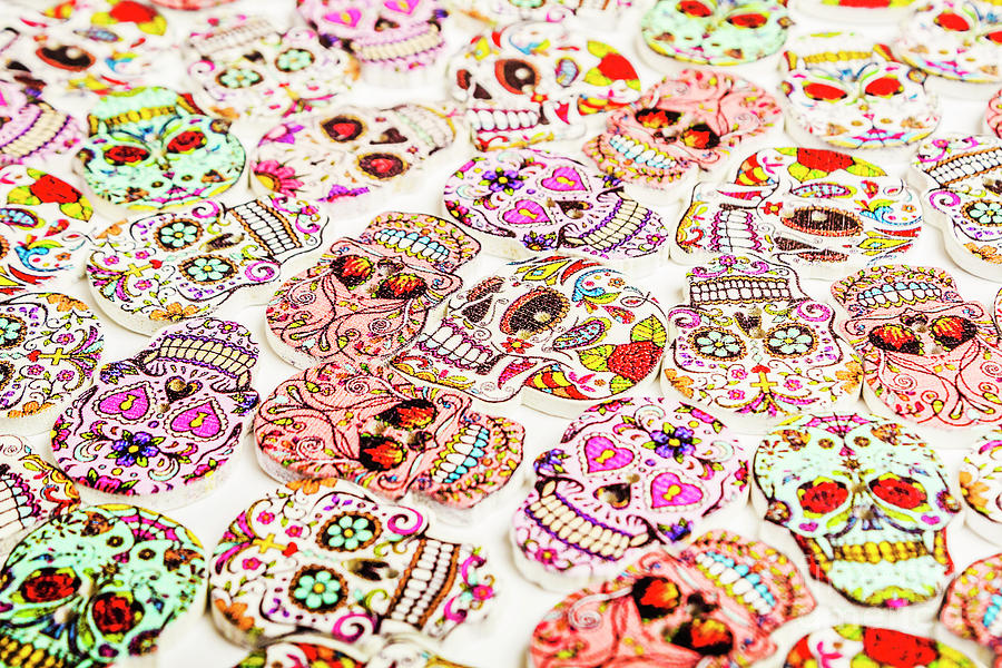 Button Photograph - Day Of The Dead Colors by Jorgo Photography - Wall Art Gallery