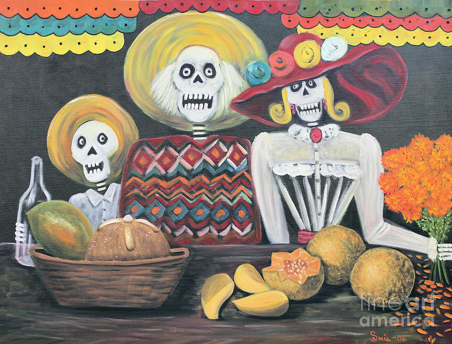 Day Of The Dead Painting - Day Of The Dead Family by Sonia Flores Ruiz
