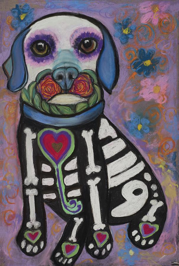 Dogs Pastel - Day Of The Dead Hudson by Ann Hoff
