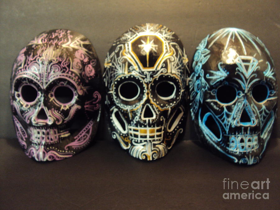 Dia Del Los Muertos Painting - Day Of The Dead Masks by Kelly Gannon