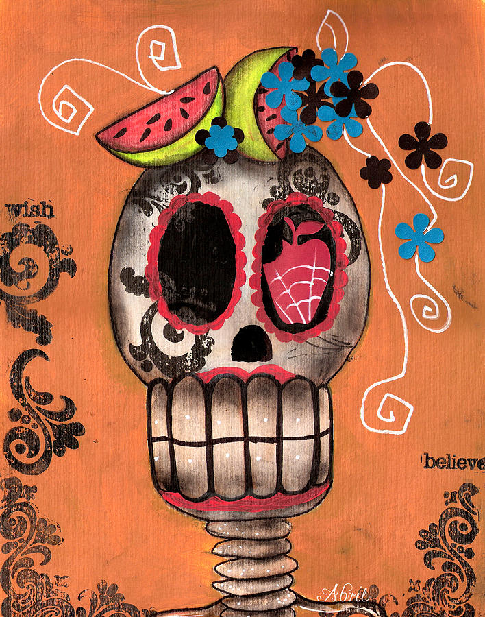 Day Of The Dead Skeleton  Painting - Day Of The Dead Watermelon by  Abril Andrade Griffith